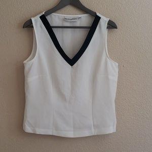 Dressbarn white and black vneck sheer blouse